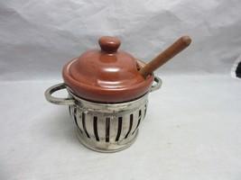Klever Kraft jam, mustard pot & spoon. Silverplate &  pottery - $15.29
