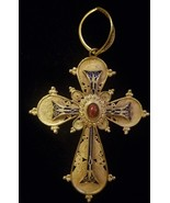 Gold Cross Pendant, 18 KT, Stamped B. 44. 750, Beautiful Design, Gold Bail - $675.00