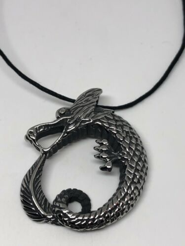 Vintage Silver Stainless Steel Celtic Dragon Amulet Necklace