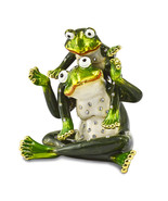 Non Metal Bejeweled Mama & Tad Frog Mother And Child Trinket Box (Length... - $52.91