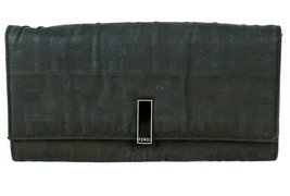 Authentic FENDI Black Nylon Leather Canvas Long Wallet Bifold Purse Used... - $88.11