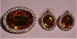 Vintage Rhinestones and Topaz-color D.A.R. Brooch/Pendant & Pierced Earr... - $98.95