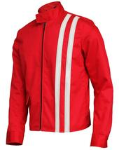 Elvis Presley Retro White Striped Speedway Steve Classic Red Cotton Jacket image 3