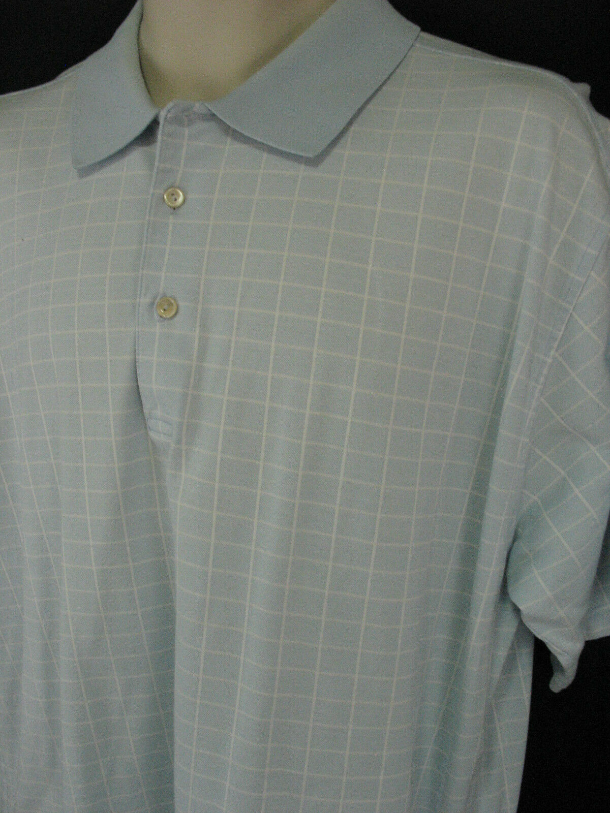 Peter Millar Mens Large Blue Window Pane Cotton Polo Shirt Short Sleeve