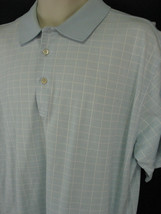 Peter Millar Mens Large Blue Window Pane Cotton Polo Shirt Short Sleeve image 1
