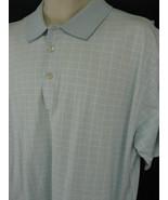 Peter Millar Mens Large Blue Window Pane Cotton Polo Shirt Short Sleeve - $16.82