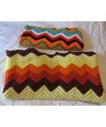 Vintage Crocheted Afghan Handmade Chevron Yellow Blue Brown Fall Colors ... - $35.00