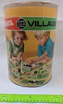MB Playskool Village Wood Pieces & Cylindrical Container Vintage 1970's - $5.00