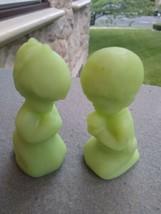 Fenton Glass Praying Children  Green Satin Glass Praying Boy & Girl Figures - $14.90