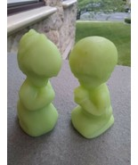 Fenton Glass Praying Children  Green Satin Glass Praying Boy & Girl Figures - $14.90