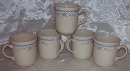 Vtg Corning Ware NEEDLEPOINT Mugs /Cups -Beige w/ Red & Blue Flowers -Se... - $7.50