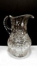 Vintage  Cut Crystal Pitcher European Yasmin Clear Triple Cut Handle Hob... - $26.95