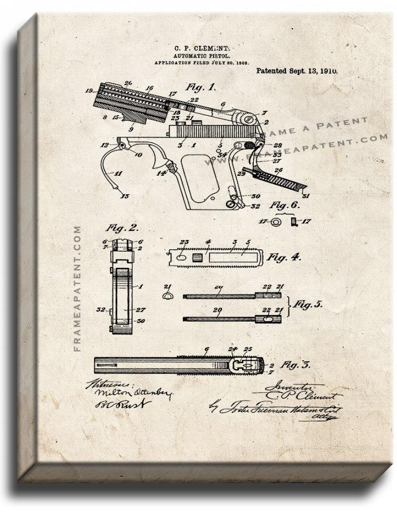 Primary image for Automatic Pistol Patent Print Old Look on Canvas