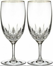Waterford Lismore Essence Gold Iced Beverage 2 Two Glasses #155975 New - $207.90