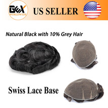 GEX Toupee Mens Hairpiece SWISS LACE Indian Hair Replacement System Black 1B10# - $148.50