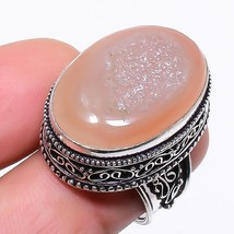 Pink Agate Druzy Gemstone Vintage Jewelry Ring Size 6.5 RR36 - $7.99