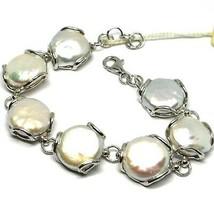Bracelet en Argent 925, Perles Style Baroque à Disque, Plates, Diamètre ... - $308.36