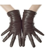 BROWN LAYERED LEATHER GLOVES LES DEBUTANTES - $27.99