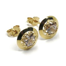 18K YELLOW GOLD BUTTON EARRINGS CUBIC ZIRCONIA, ROUND DISC WORKED FRAME, 10 MM image 2