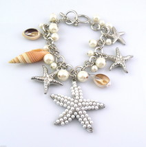 GORGEOUS Vintage 1980s SEA LIFE Design Silvertone Faux Pearls & Shells B... - $75.96