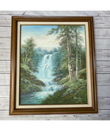 """Original Oil On Canvas Signed R. Danford Scenic Mountain & Waterfall 24""""... - $445.45"""