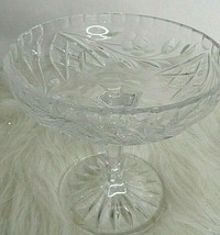WATERFORD STYLE TALL CRYSTAL FLORAL COMPOTE  - $19.79
