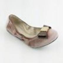 Cole Haan Size 7 Tali Bow Ballet Flat Nude Velvet Glitter Blush Pink Gol... - $76.44