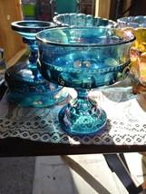 Blue Carnival Indiana Glass  Iridescent Thumprint Pedestal  Wedding/Cand... - $10.88