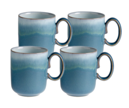 Denby Azure Double Dip Coffee Tea Mugs  Set of 4  Blue - $110.00
