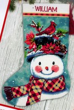 Dimensions Seasonal Snowman Christmas Cardinal Needlepoint Stocking Kit ... - $68.95