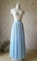 LIGHT BLUE Wedding Bridesmaid Tulle Skirt High Waist Floor Length Tulle Skirt image 2