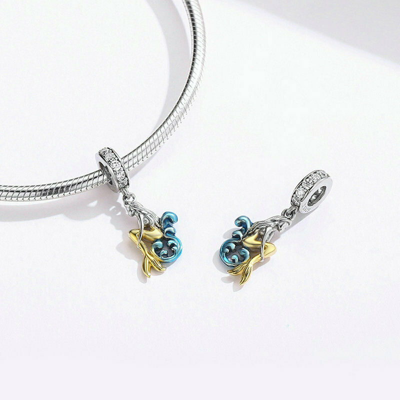 Mermaid Silver Charm Genuine 925 Sterling Silver Pendant Fits Pandora Bracelet image 2