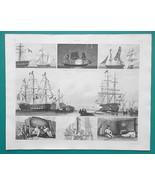 SHIPS Flag Parade Firing Salute Night Signals Sailors - 1844 Superb Print - $19.80