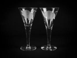 McBride Cameo Wine Glasses 2 pc Set, Vintage Atomic & Clematis Cut Etch ... - $14.70