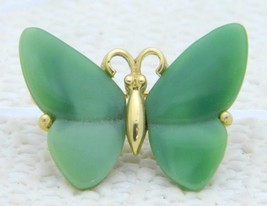 VTG CROWN TRIFARI Gold Tone Faux Jade Lucite Butterfly Brooch Pin - $49.50