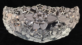"""Mikasa Crystal Glass Bowl Carmen Pattern Embossed Flowers Frosted Leaves 9"""" - $39.59"""