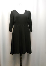 Spense Women's Sweater Dress V-Neck Solid Black Plus Size 1X  - $79.97