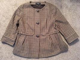 Womens Talbots Petites Brown Checkered Wool Blend Dress Jacket, Size 10P - $29.99