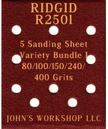 RIDGID R2501 - 80/100/150/240/400 Grits - 5 Sandpaper Variety Bundle I - $7.53