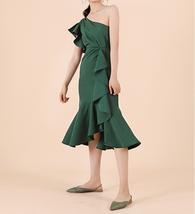 One Shoulder Midi Formal Dress Outfit Summer Wedding Bridesmaid Chiffon Dress  image 4