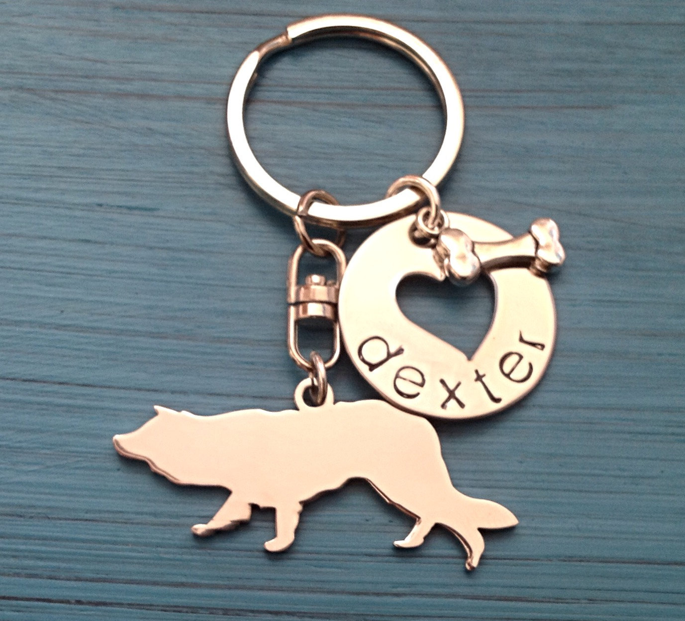 Border Collie Custom Keychain, Herding Dog, Border Collie Jewelry, Personalized  - $18.00