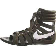 NIB NIKE WOMEN'S GLADIATEUR II SANDALS SNEAKERS LEATHER BOG GREEN WHITE  - $89.99