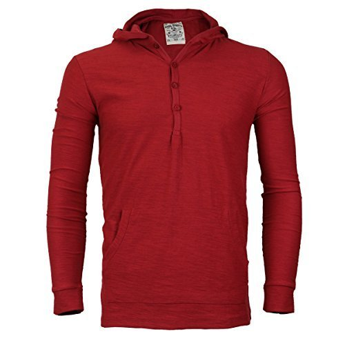 Royal Knights Men's Lightweight Slim Fit Pullover Henley Shirt Hoodie (Large, 08