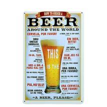 "Beer Around World 20*30CM/7.8""x11.8"" Vintage Beer Metal Tin Sign Retro P... - £14.76 GBP"