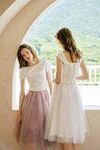 2020 Rose Pink Midi Tulle Skirt Outfit A-line Ballerina Skirt Plus Size WT12 image 2