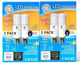 2 Boxes GE LED Bright Stik 9w Soft White 800 Lumens Non Dimmable 2 Count Bulbs - $19.99