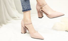 84H072 elegant thick heels strappy ankle pumps, Size 2-10.5, nude - $72.80