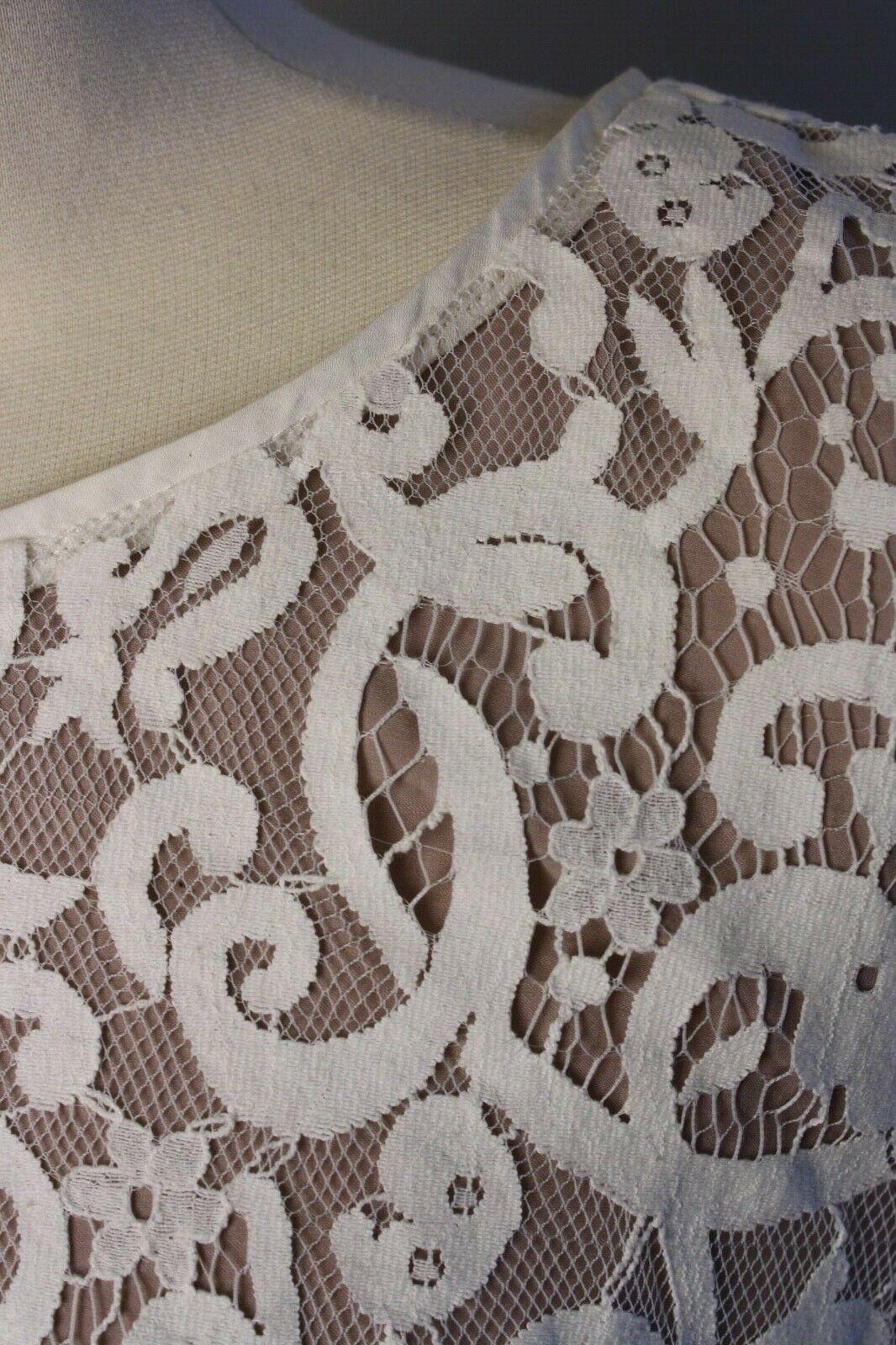 Loft 12 Scallop Hem Sleeveless White Nude Lace Overlay Dress