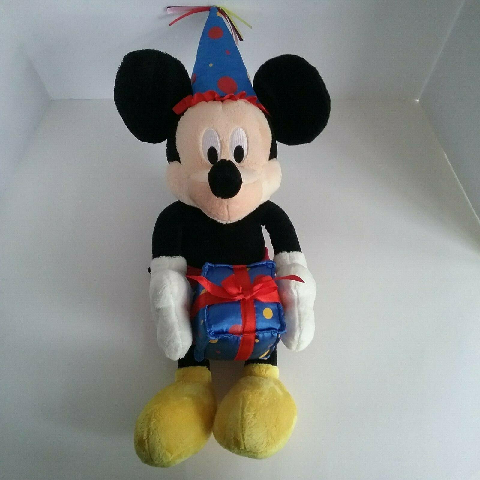 "Disney Mickey Mouse Birthday Soft Plush Stuffed Animal Doll Toy w/ Gift Hat 19"""