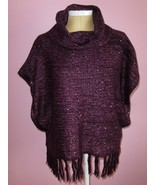 Nine West Vintage America Collection Purple Cowl Neck Sweater Poncho Wra... - $24.97